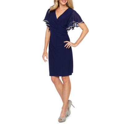 MSK Short Flutter Sleeve Embellished Sheath Dress