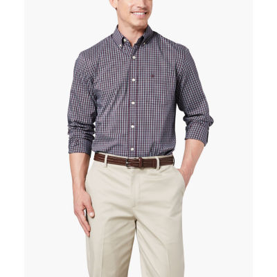 Dockers Mens Long Sleeve Plaid Button-Front Shirt Big and Tall