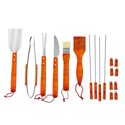 Home-Complete 22-pc. Wood BBQ Grill Tool Set