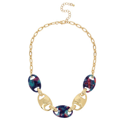 Worthington Womens Brass Collar Necklace