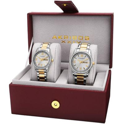 Akribos XXIV Not Applicable Mens Two Tone Bracelet Watch-A-888ttg