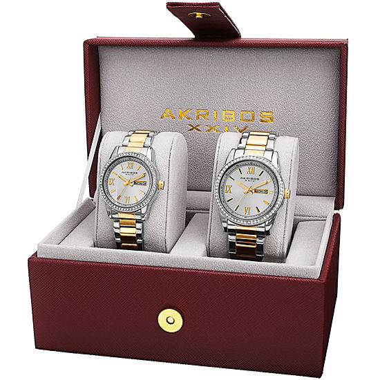 Akribos XXIV Not Applicable Mens Crystal Accent Two Tone Stainless Steel Bracelet Watch-A-888ttg