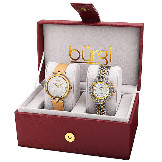 Burgi Womens Two Tone Strap Watch-B-152yg