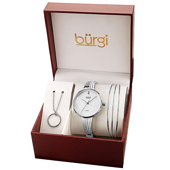 Burgi Womens Silver Tone Bracelet Watch-B-208ss-S