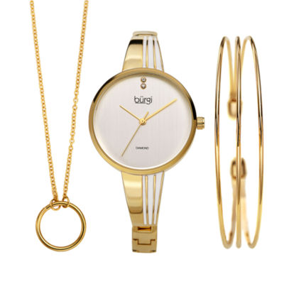 Burgi Womens Gold Tone Bracelet Watch-B-208yg-S