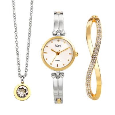 Burgi Womens Two Tone Bracelet Watch-B-212ttg-S