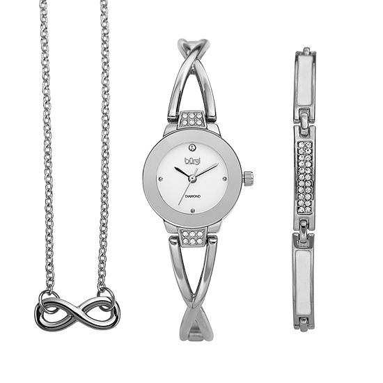 Burgi Womens Silver Tone 3-pc. Watch Boxed Set-B-213ss-S