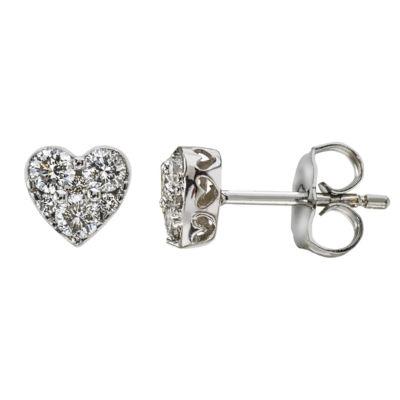 1/2 CT. T.W. Genuine White Diamond 14K White Gold 8.1mm Heart Stud Earrings