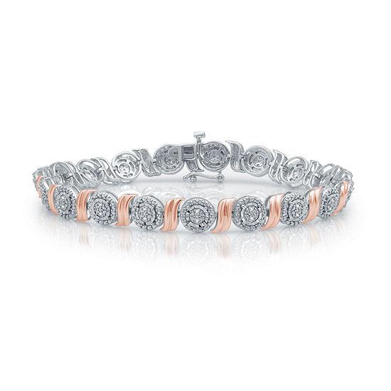 1/10 CT. T.W. Genuine Diamond 14K Rose Gold Over Silver 7.5 Inch Tennis Bracelet