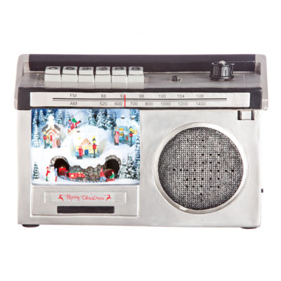 """Roman 9.5"""" Musical Winter Scene Boombox with LED Lights"""