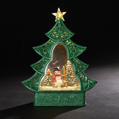"Roman 11"" Green Christmas Tree with Snowman Glitterdome"