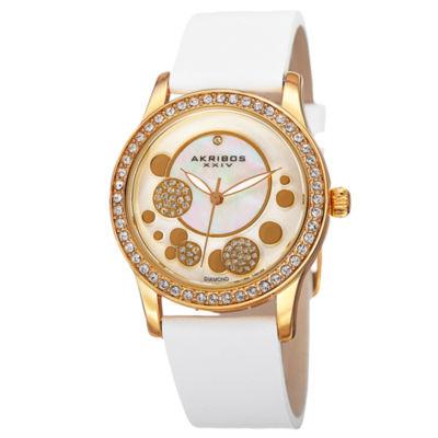 Akribos XXIV Womens White Strap Watch-A-843wtg