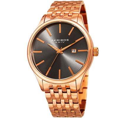 Akribos XXIV Mens Rose Goldtone Bracelet Watch-A-941rg