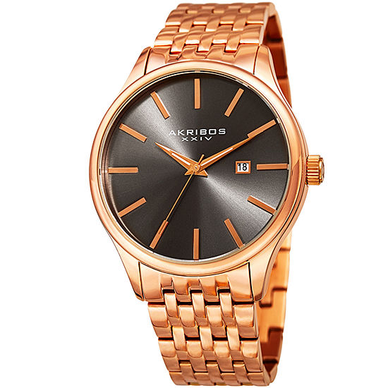 Akribos XXIV Mens Rose Goldtone Bracelet Watch-A-941rg