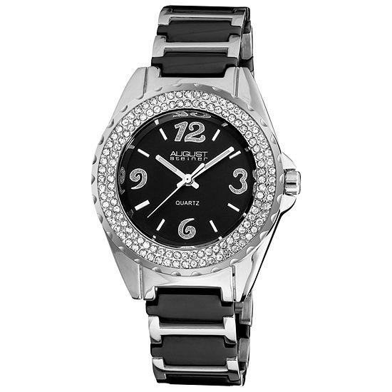 August Steiner Womens Silver Tone Bracelet Watch-As-8036bk
