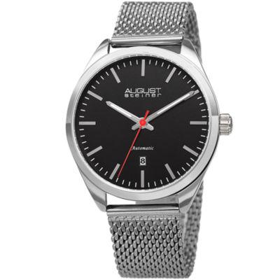 August Steiner Mens Silver Tone Bracelet Watch-As-8265ssbk