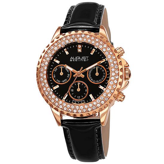 August Steiner Womens Black Strap Watch-As-8267bk