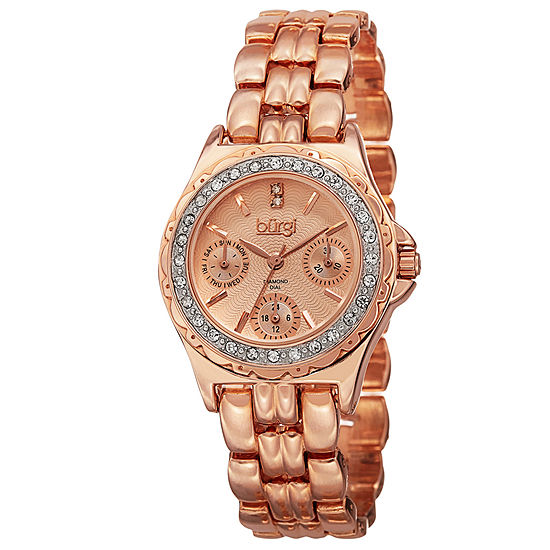 Burgi Womens Rose Goldtone Bracelet Watch-B-117rg