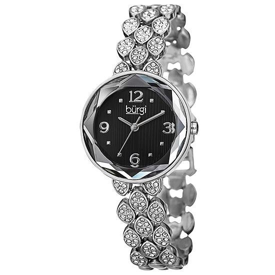 Burgi Womens Silver Tone Bracelet Watch-B-124ssb