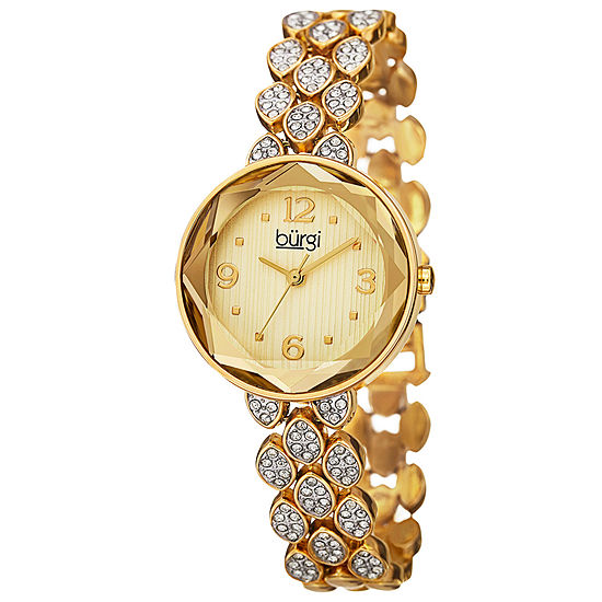 Burgi Womens Gold Tone Bracelet Watch-B-124yg