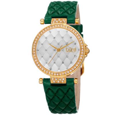 Burgi Womens Green Strap Watch-B-154gn