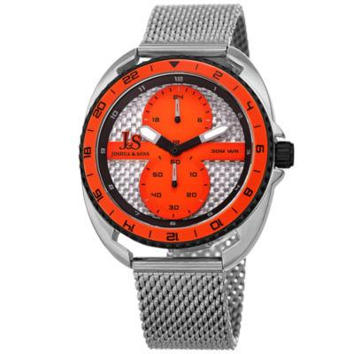 Joshua & Sons Mens Silver Tone Bracelet Watch-J-136or