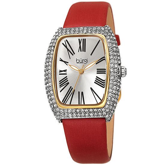 Burgi Womens Red Strap Watch-B-237rd