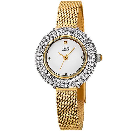 Burgi Womens Gold Tone Bracelet Watch-B-236yg