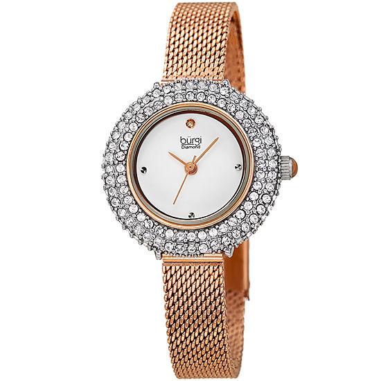 Burgi Womens Rose Goldtone Bracelet Watch-B-236rg