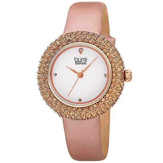 Burgi Womens Pink Strap Watch-B-227rg