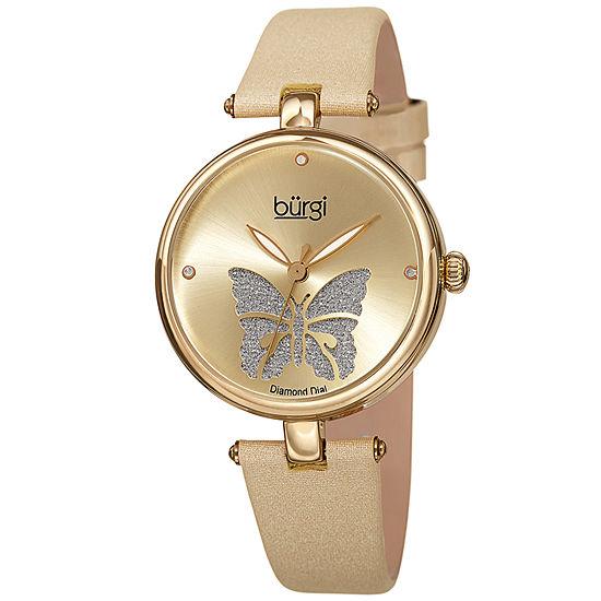 Burgi Womens Gold Tone Strap Watch-B-233yg