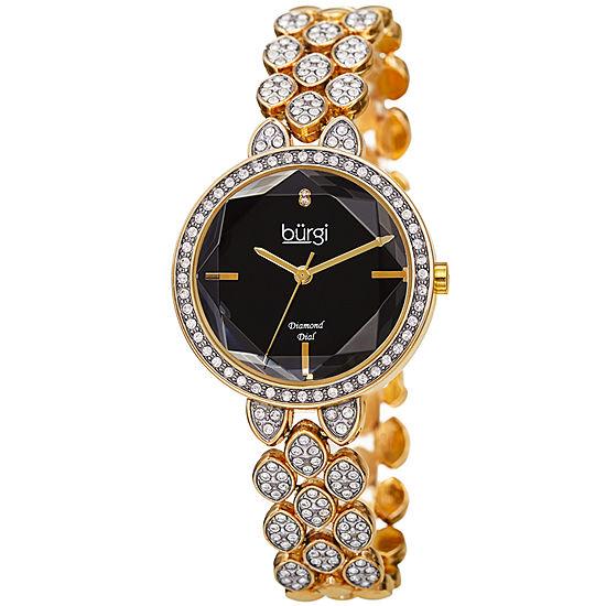 Burgi Womens Gold Tone Bracelet Watch-B-232ygb