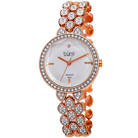 Burgi Womens Rose Goldtone Bracelet Watch-B-232rg