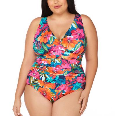 Trimshaper Control Floral One Piece Swimsuit Plus