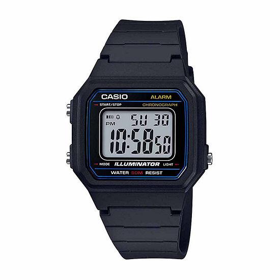 Casio Mens Digital Black Strap Watch-W217h-1avpb