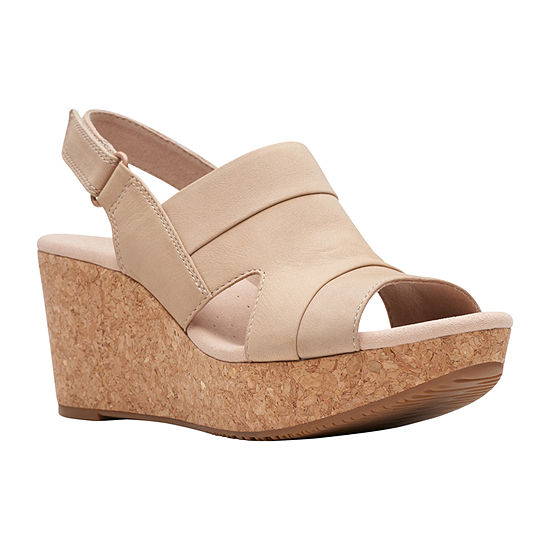 Clarks Womens Annadel Ivory Wedge Sandals