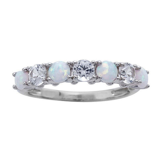 Lab-Created Opal and White Sapphire Sterling Silver Band Ring