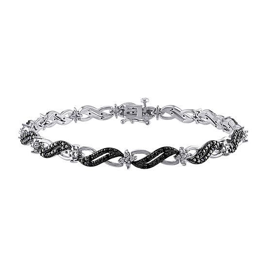 1/4 CT. T.W. Genuine Black Diamond Sterling Silver 7 Inch Tennis Bracelet