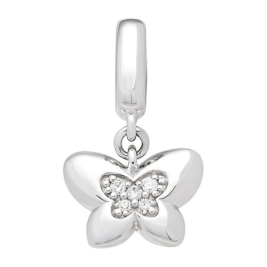 PS Personal Style Womens Simulated White Cubic Zirconia Sterling Silver Butterfly Pendant