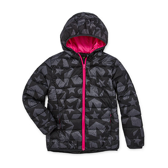 Xersion Big Girls Plus Hooded Packable Midweight Puffer Jacket