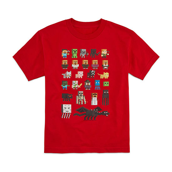 Big Boys Crew Neck Minecraft Short Sleeve Graphic T-Shirt