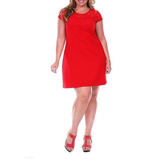 White Mark-Plus Short Sleeve Sheath Dress