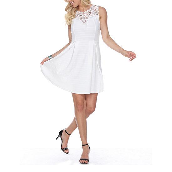 White Mark Taja Sleeveless Fit & Flare Dress