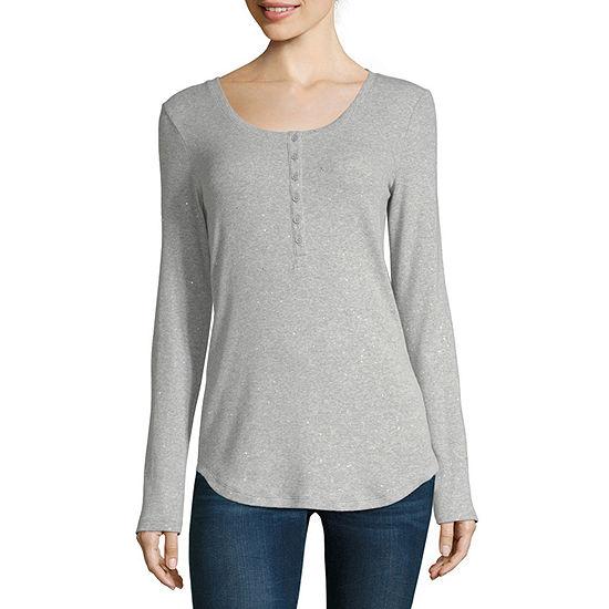 a.n.a Womens Henley Neck Long Sleeve Henley Shirt