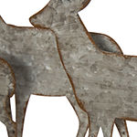 Glitzhome Galvanized Metal & Wooden Reindeer Tabletop Decor