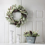 Glitzhome Snowy Day Flocked Pinecone & Antler Wreath