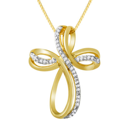 1/10 CT. T.W. Diamond Cross Pendant Necklace