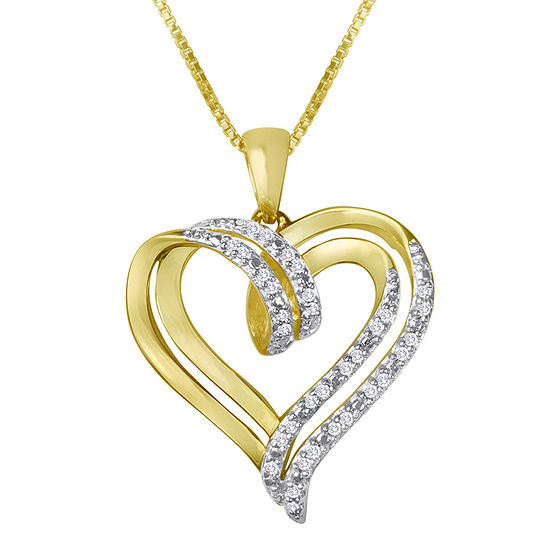 1/10 CT. T.W. Genuine Diamond Heart Pendant Necklace