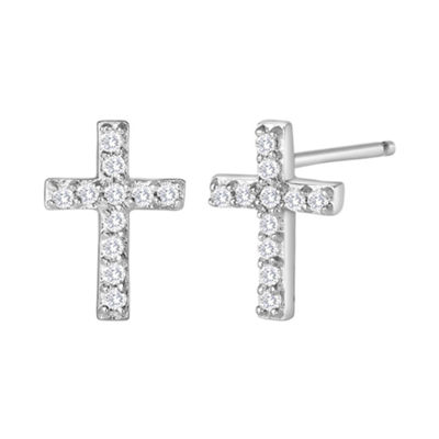 1/10 CT. T.W. Diamond Mini Cross Earrings