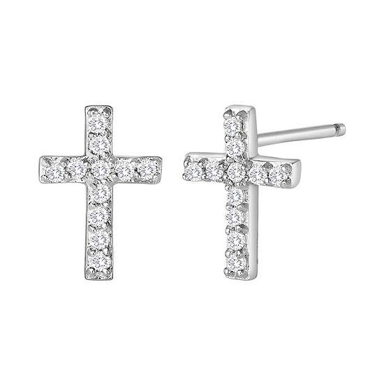 1/10 CT. T.W. Diamond Mini Cross Earrings